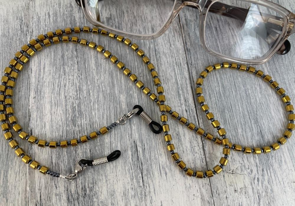 Gold Hematite Barrel Glasses Chain
