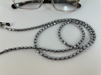Silver Hematite Barrel Beaded Glasses Chain