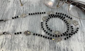 Black Onyx & Swarovski Crystal Hamsa Hand Glasses Chain