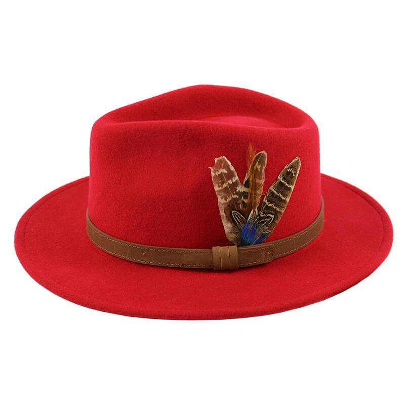 Fedora Hat - Cherry Red