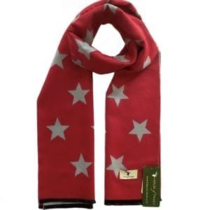 House of Tweed Scarf - Grey & Red Stars