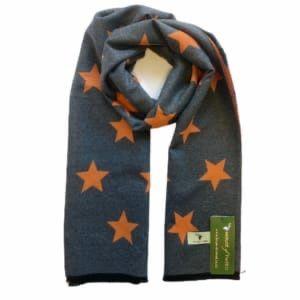 House of Tweed Scarf - Grey & Orange Stars