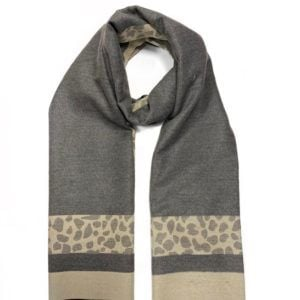 House of Tweed Scarf - Grey with animal print