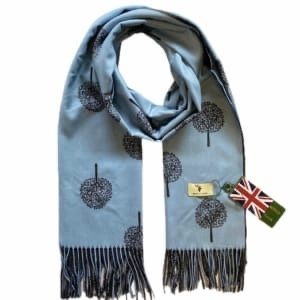 House of Tweed Scarf - Tree print - pale blue