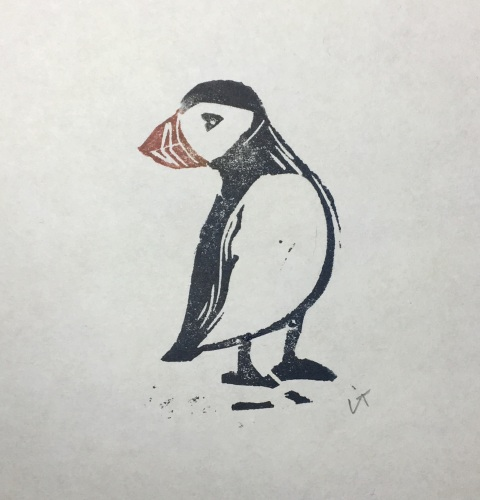 Hand printed Puffin linocut Unframed