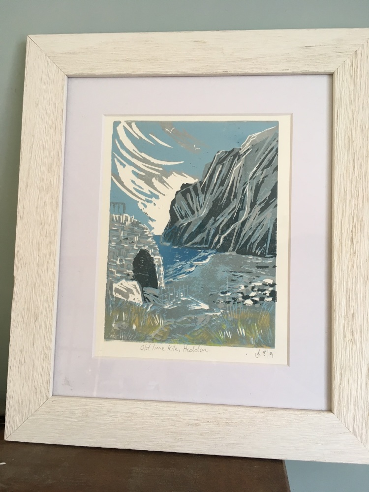 Framed original linocut Old lime Kiln At Heddon