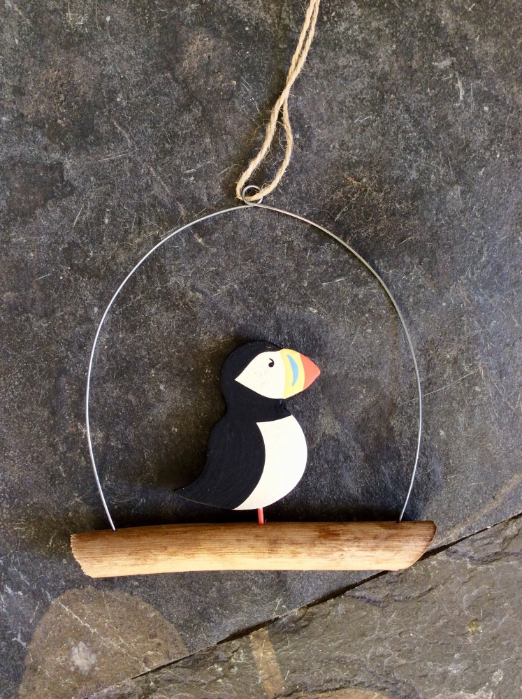Single puffin hanger on driftwood