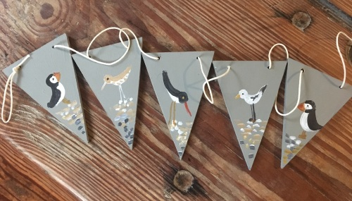 Seabird hand painted wooden bunting