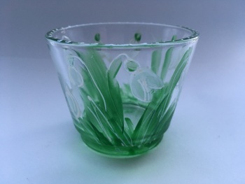 Snow drop glass candle holder