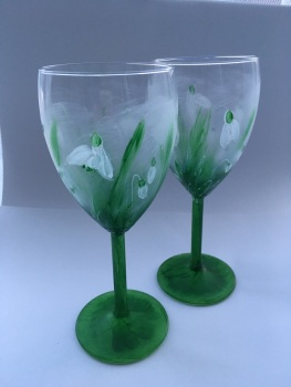 Hand painted snow drop wine glasses