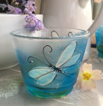 Dragonfly candle pot