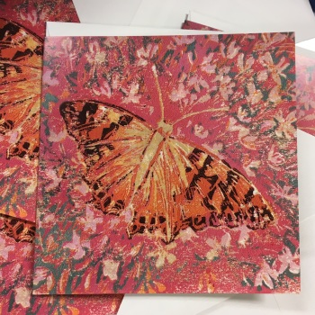 Painted lady butterfly greetings card