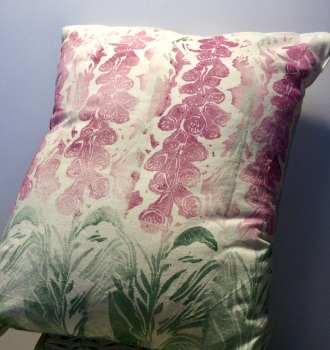 Hand made foxglove cushion