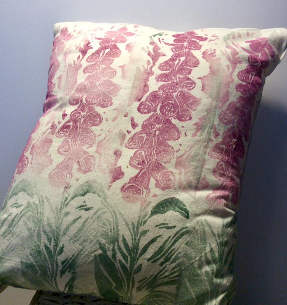 Hand made foxglove cushio
