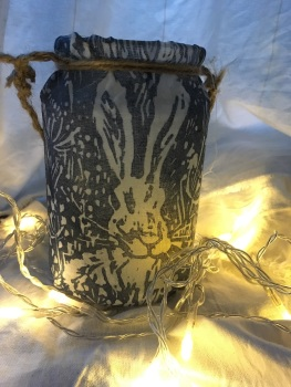 Up cycled linoprint Hare Lantern