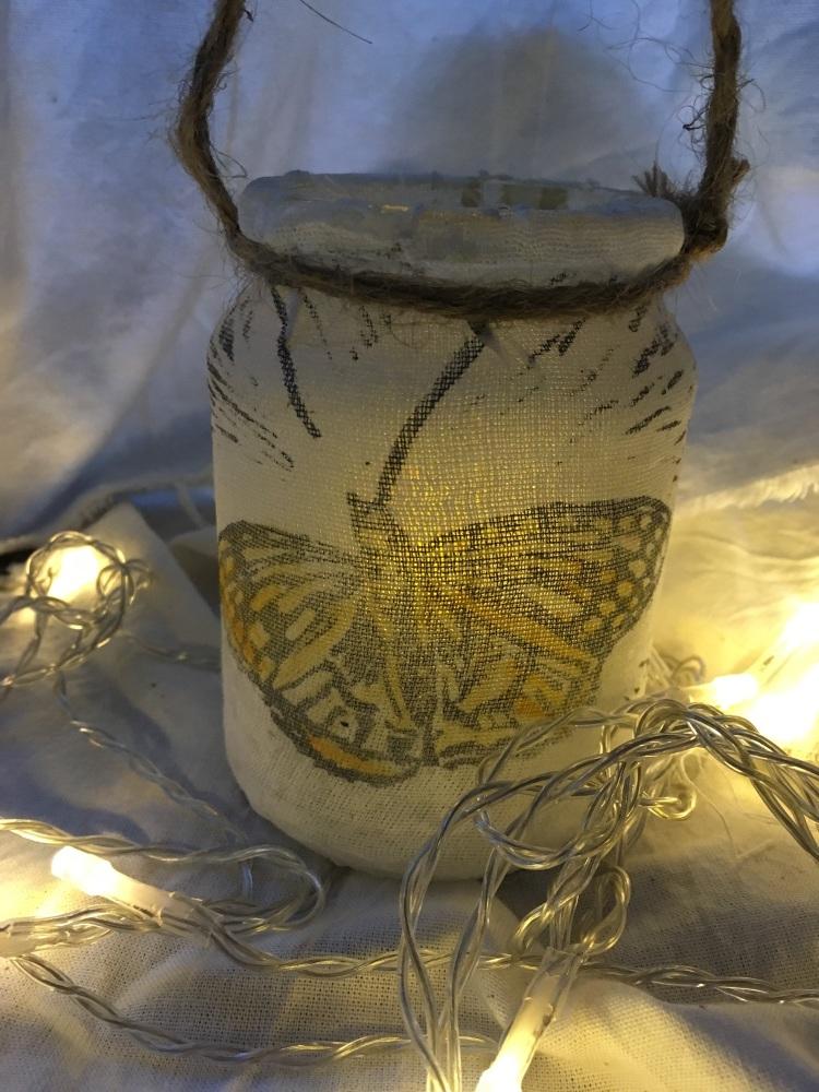 Upcycled linoprint Butterly lantern