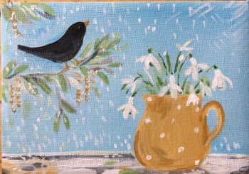 The Blackbird and Snowdrops