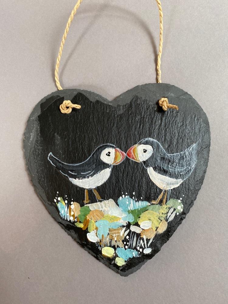 Puffin slate heart