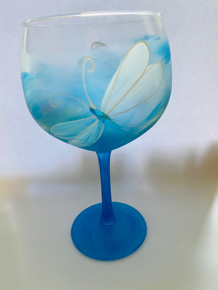 Gin glass Blue dragonfly