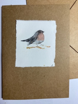 Christmas card Cute robin