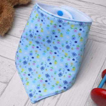 Blue Floral Bandana Bib