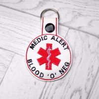 Blood O Negative Medic Alert Keyring