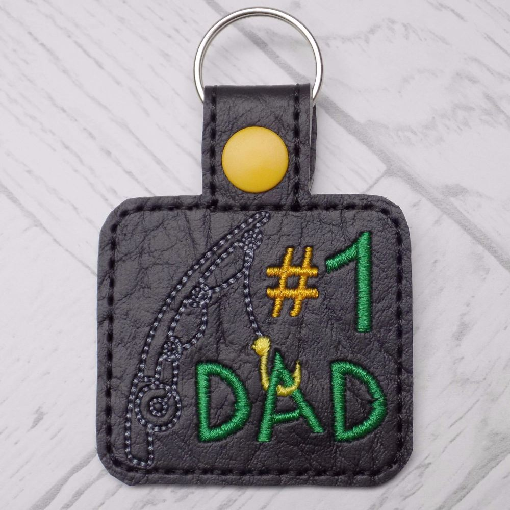 #1 Dad Fishing Keyring