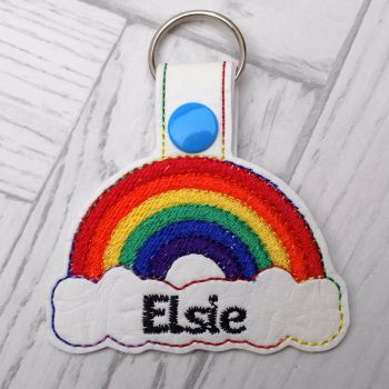 Filled Rainbow Personalised Keyring PASTEL or BRIGHT colours