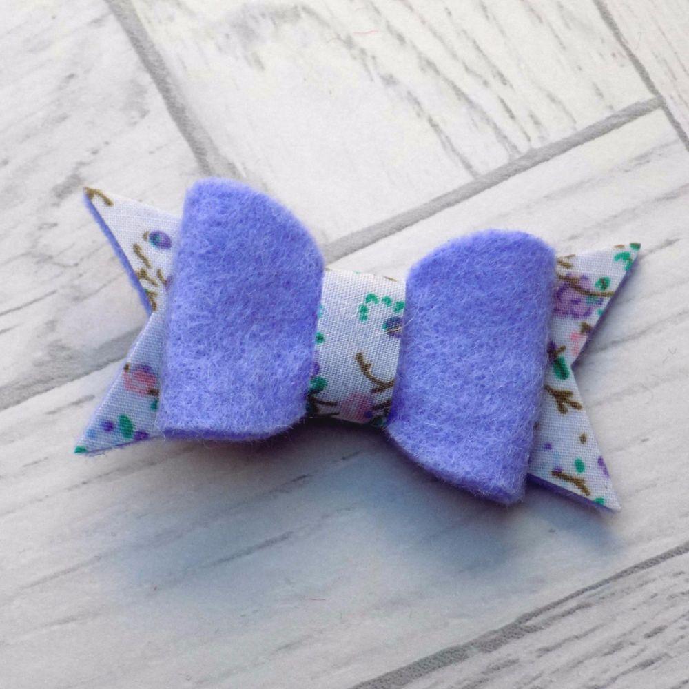 Lilac Kisses Felt and Fabric Bow