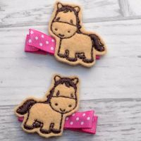 Horse Felt Hair Clippies