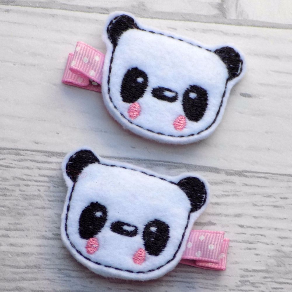Panda Felt Hair Clippies