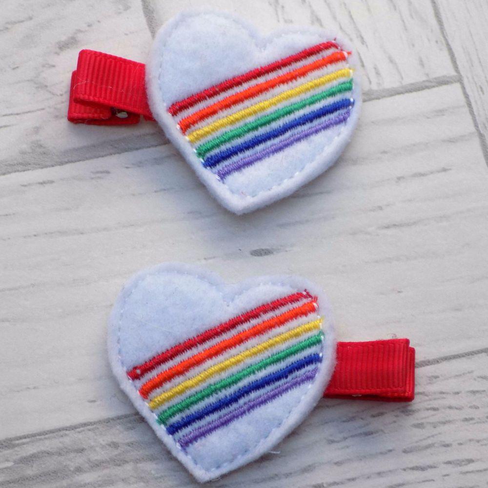 Rainbow Heart Felt Hair Clippies