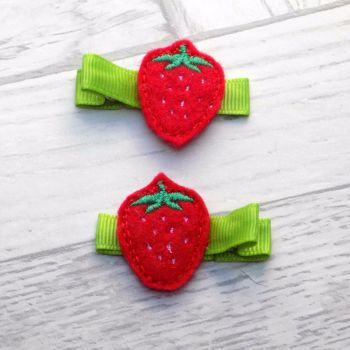 Strawberry Felt Hair Clippies