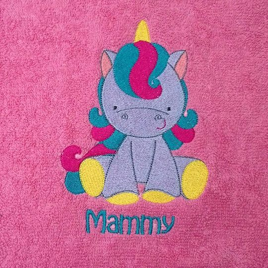 Cute Unicorn Personalised Embroidered Flannels and Towels
