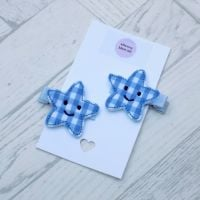 Smiley Star Gingham Felt Hair Clippies