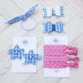 School Colours Gingham Bow Set