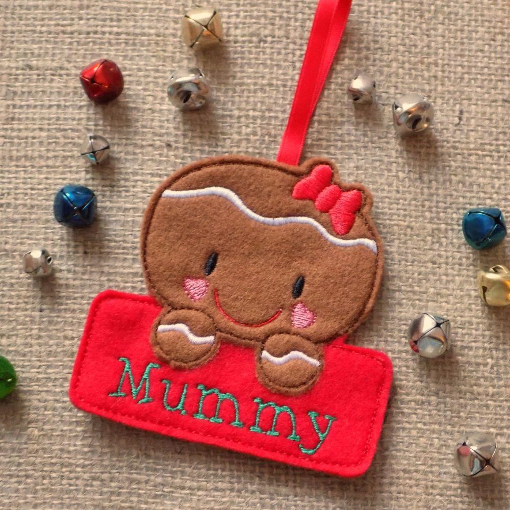 Gingerbread Girl Personalised Christmas Ornament