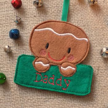 Gingerbread Boy Personalised Christmas Ornament