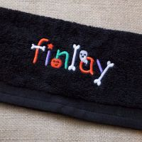 Spooky Halloween Personalised Embroidered Flannels and Towels