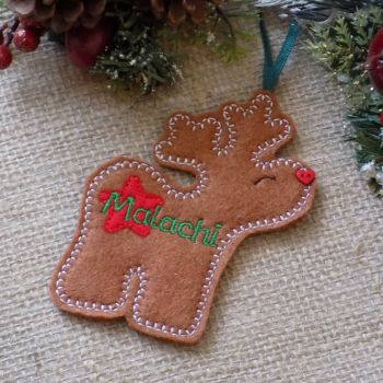 Reindeer Boy Personalised Christmas Ornament