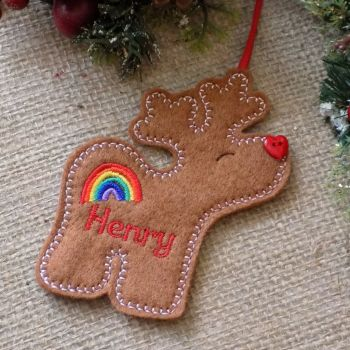 Rainbow Reindeer Personalised Christmas Ornament