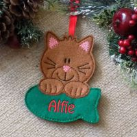 Personalised Cat Christmas Ornament