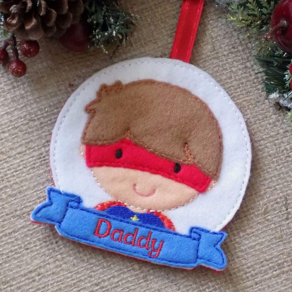 Superhero Boy Personalised Christmas Ornament