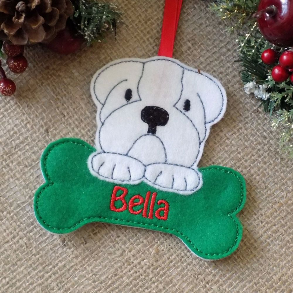 Personalised Bulldog Christmas Ornament