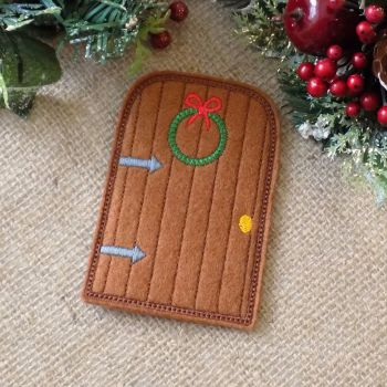 Embroidered Christmas Elf Fairy Door