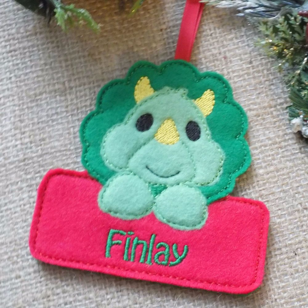 Personalised Triceratops Dinosaur Christmas Ornament