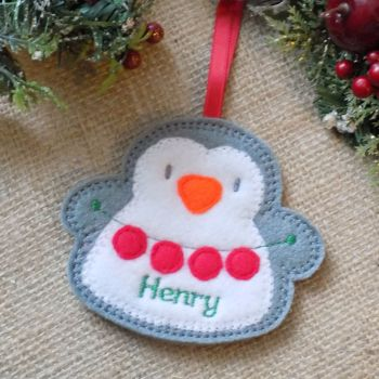 Personalised Penguin Christmas Ornament