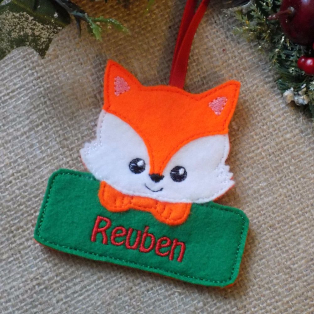 Personalised Fox Christmas Ornament