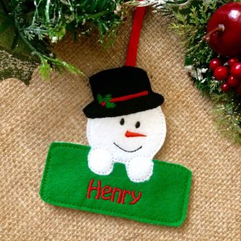 Personalised Snowman Christmas Ornament