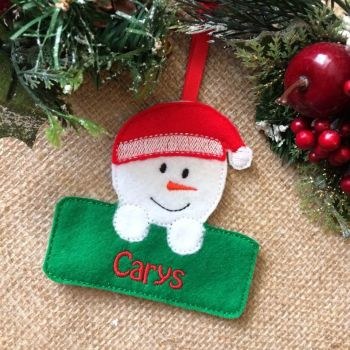 Personalised Snowgirl Christmas Ornament
